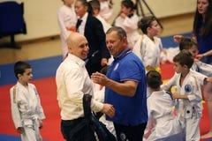 Jiu Jitsu Hanshi i arbiter przy Rumuńskim mistrzostwem, juniory, Maj 2018 Obrazy Stock