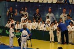 Jiu Jitsu fighters with Sensei at Romanian Championship, Juniors, May 2018. Jiu Jitsu junior fighters in Kimono on tatami. Jiu-Jitsu Romanian Championship took Stock Photos