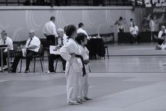 Jiu Jitsu młodzieżowi wojownicy przy Rumuńskim mistrzostwem, juniory, Maj 2018 Zdjęcia Royalty Free