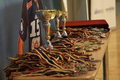 Jiu Jitsu medale i trofeum przy Rumuńskim mistrzostwem, juniory, Maj 2018 Zdjęcia Stock
