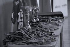 Jiu Jitsu medals and trophy at Romanian Championship, Juniors, May 2018 royalty free stock photo