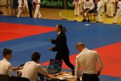 Jiu Jitsu referees, Juniors Championship, May 2018. Jiu Jitsu referees Stock Photos