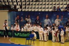 Jiu Jitsu fighters with Hanshi at Romanian Championship, Juniors, May 2018. Jiu Jitsu students in Kimono with Hanshi. Jiu-Jitsu Romanian Championship took place Stock Images