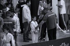 Jiu Jitsu fighters with Hanshi at Romanian Championship, Juniors, May 2018. Jiu Jitsu students in Kimono with Hanshi. Jiu-Jitsu Romanian Championship took place Royalty Free Stock Image