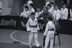 Jiu Jitsu fighters with Hanshi at Romanian Championship, Juniors, May 2018. Jiu Jitsu students in Kimono with Hanshi. Jiu-Jitsu Romanian Championship took place Royalty Free Stock Images