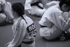 Jiu Jitsu Team at Romanian Championship, Juniors, May 2018. Jiu Jitsu students in Kimono training. Jiu-Jitsu Romanian Championship took place in Constanta, Sala Stock Image