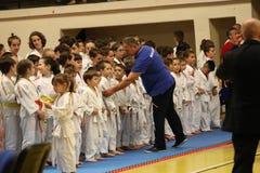 Jiu Jitsu wojownicy uszeregowywali gotowego dla trenować Fotografia Royalty Free
