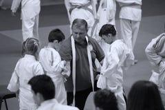 Jiu Jitsu wojownicy z Hanshi przy Rumuńskim mistrzostwem, juniory, Maj 2018 Obrazy Royalty Free