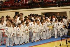 Jiu Jitsu wojownicy zespalają się gotowego dla trenować Obrazy Royalty Free