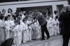 Jiu Jitsu wojowników * dla grupowej fotografii Fotografia Royalty Free