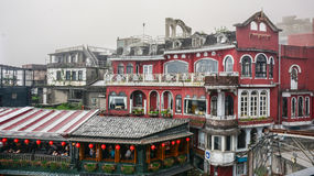 Jiufen镇看法在台湾 免版税库存照片