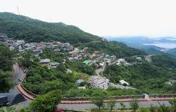 Jiufen,台北,台湾2018年5月07日:全景鸟瞰图  库存照片