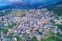 Jiufen/Chiufen Aerial Photography. Jiufen/Chiufen cityscape birds eye view use the drone photography, shot in Ruifang District, New Taipei, Taiwan stock photo
