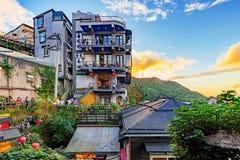 Jiufen-Dorfteehäuser auf den Hügeln lizenzfreies stockbild