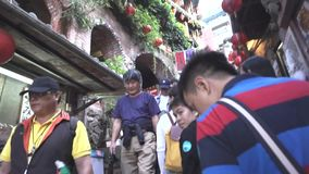 Jiufen Staircase. Jiufen,Taiwan - Dec.1,2018 - Jiufen Village with tourist shopping one the famous movie staircase where many famous Asian movies were filmed stock video