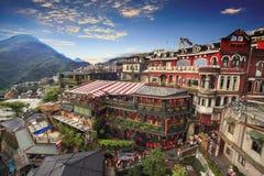 Jiufen, Taipeh, Taiwan De betekenis van de Chinese tekst in p stock foto's