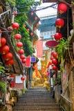 Jiufen Taiwan bakgata arkivbild