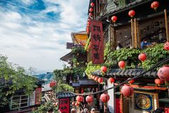 Jiufen. Taiwan - June 6, 2018: , an old gold mining town at the northern coast of Taiwan, and the hillside tea house is the famous landmark in stock images
