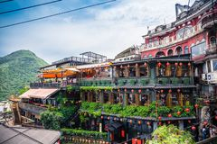 Jiufen. Taiwan - June 6, 2018: , an old gold mining town at the northern coast of Taiwan, and the hillside tea house is the famous landmark in royalty free stock image