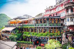 Jiufen. Taiwan - June 6, 2018: , an old gold mining town at the northern coast of Taiwan, and the hillside tea house is the famous landmark in stock photo
