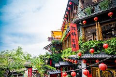 Jiufen. Taiwan - June 6, 2018: , an old gold mining town at the northern coast of Taiwan, and the hillside tea house is the famous landmark in stock photos