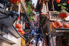 Jiufen. Taiwan - June 6, 2018:  Old street is a famous scenic in Ruifang District, New Taipei City, Taiwan stock images