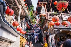 Jiufen. Taiwan - June 6, 2018:  Old street is a famous scenic in Ruifang District, New Taipei City, Taiwan royalty free stock images