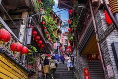Jiufen. Taiwan - June 6, 2018:  Old street is a famous scenic in Ruifang District, New Taipei City, Taiwan royalty free stock image