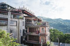 Jiufen. Taiwan - June 6, 2018: View of the famous small mountain town at stock image