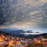 Jiufen, Taiwan. Time lapse of the seaside mountain town scenery in Jiufen, Taiwan Royalty Free Stock Photo