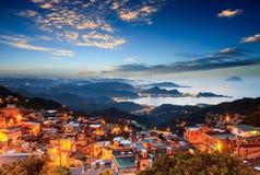 Jiufen, Taiwan. Time lapse of the seaside mountain town scenery in Jiufen, Taiwan Stock Image