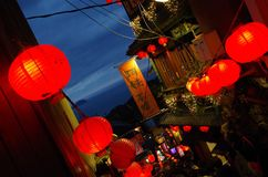 Jiufen village at night, in Taiwan Royalty Free Stock Image