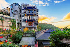 Jiufen village teahouses on the hills Royalty Free Stock Image