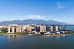 Jiujiang cityscape with mountains-water Royalty Free Stock Photos