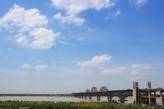 Jiujiang yangtze river bridge Royalty Free Stock Image