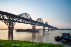 Jiujiang yangtze river bridge at dusk Royalty Free Stock Photos