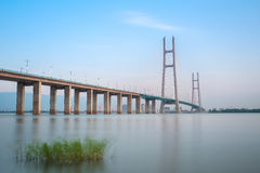 Jiujiang yangtze river cable stayed bridge Royalty Free Stock Image