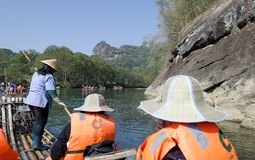 Jiuquxi stream bamboo rafting Stock Photos