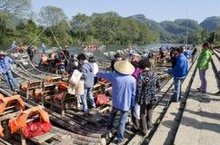 Jiuquxi stream bamboo rafting Stock Image