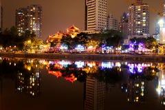 Jiuyan桥梁夜视图  免版税库存图片