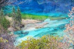 Jiuzhaigou五颜六色的湖 免版税库存照片