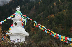 Jiuzhaigou. Tibetan prayer flags at Jiuzhaigou, Sichuan Stock Photo