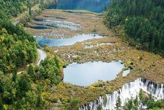 Jiuzhaigou autumn fairy tale world. The autumn in Jiuzhaigou, the beautiful water and beautiful scenery Stock Images