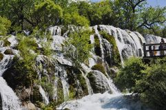 Waterfall in the national park of Jiuzhaigou royalty free stock image
