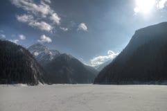 Jiuzhaigou gefrorener See Stockbilder