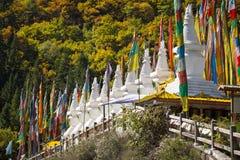 Jiuzhaigou national park. Stupas of a Tibetan village in Jiuzhaigou national park, Sichuan, China Royalty Free Stock Photo