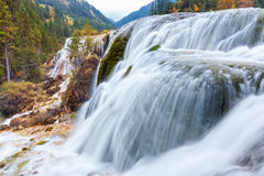 Jiuzhaigou waterfall in autumn Stock Images