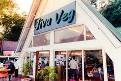 Jiva Veg restaurant, cherrapunjee, Meghalaya, India 28 Decenber 2018 - View of Exterior Jiva Veg restaurant. Contemporary design royalty free stock photography