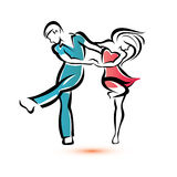 Jive dancing couple Stock Photography