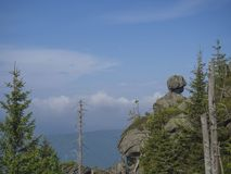 Jizera Mountains jizerske hory landscape, view from hill Frydl royalty free stock photos
